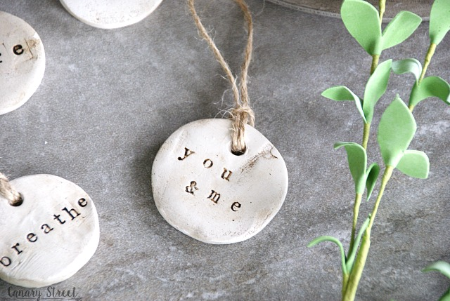 Simple DIY tags made with air dry clay. http://canarystreetcrafts.com/