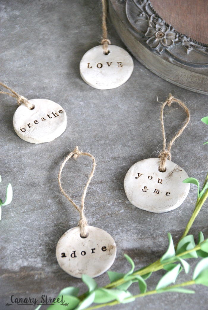 Diy rustic clay tags canary street crafts for Air dry clay crafts