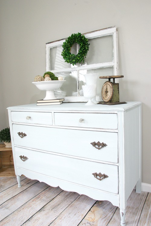 Blue Farmhouse Style Dresser Makeover Canary Street Crafts