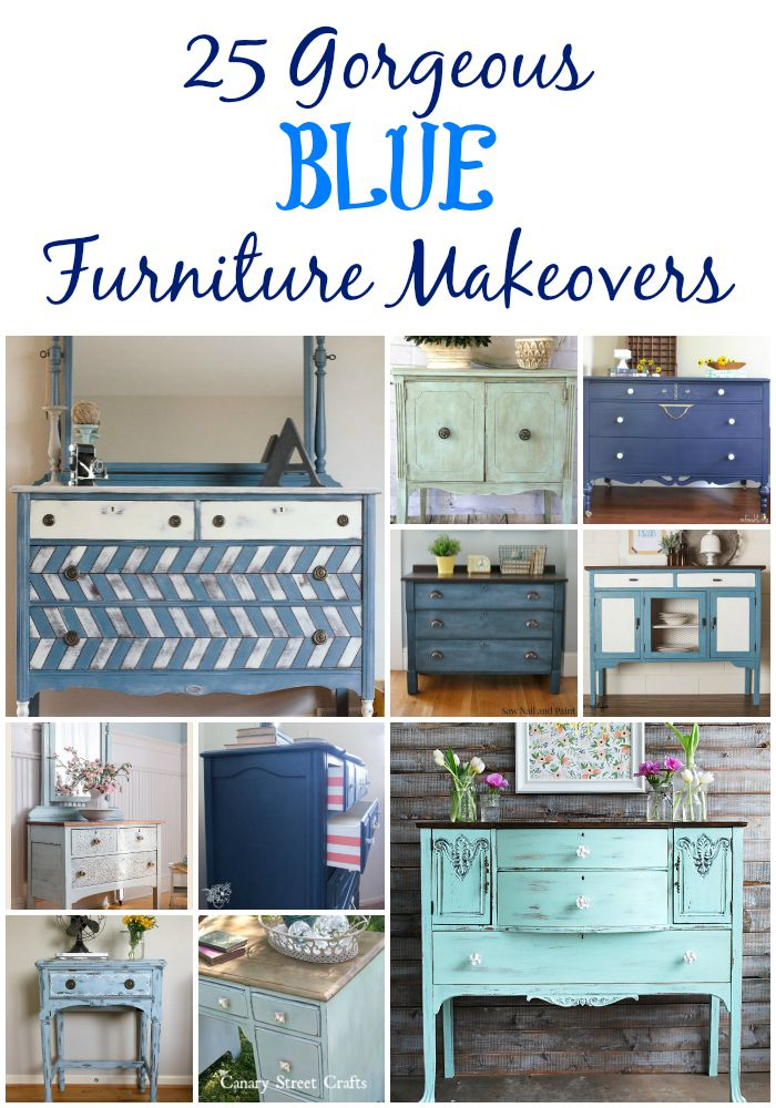 25 gorgeous blue furniture makeovers (with links to each project tutorial). canarystreetcrafts.com