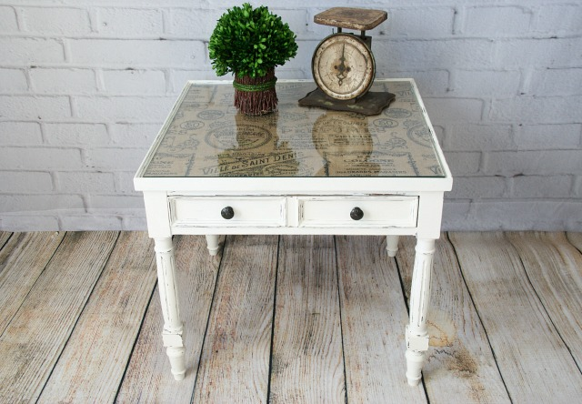 Burlap Topped Side Table  Canary Street Crafts