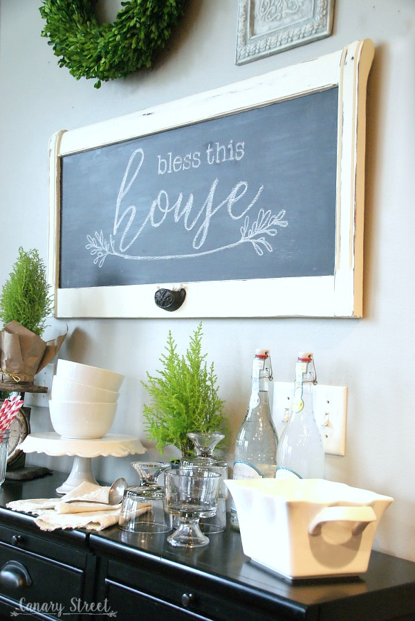How to turn an old headboard into a chalkboard. So pretty and really easy to make! http://canarystreetcrafts.com/