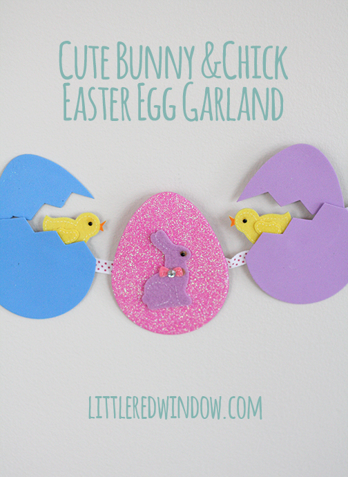 Cute Bunny & Chick Easter Egg Garland via Little Red Window