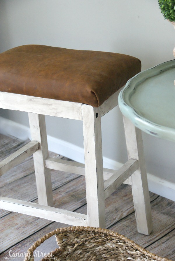Farmhouse Stool Makeover Canary Street Crafts