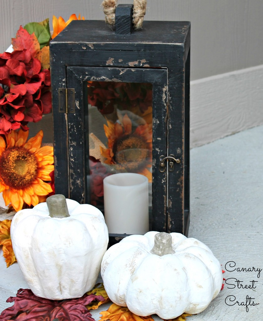 Inexpensive paper mache pumpkins can be painted any color to match your decor!  They're the perfect project for a fall craft party or even a kids craft!