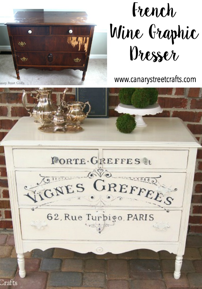 Love this hand painted French wine graphic dresser! Great instructions for painting furniture and custom graphics on this site! http://canarystreetcrafts.com/