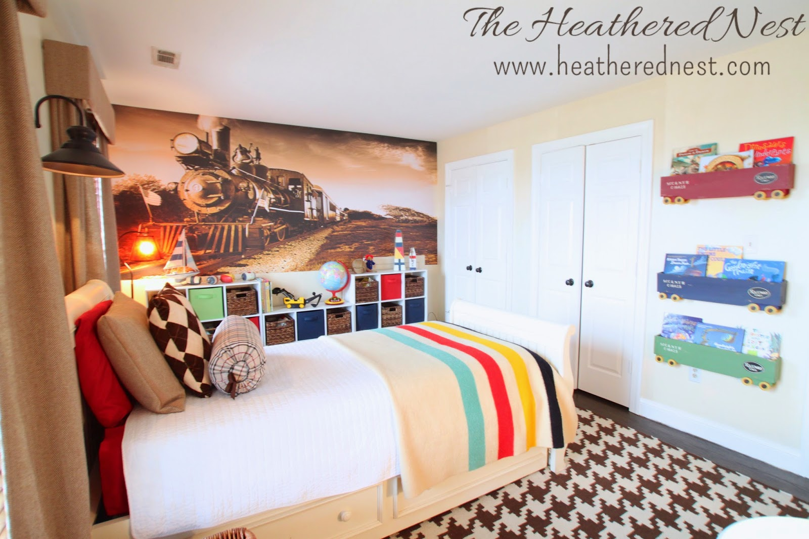 Boy's Train Bedroom from {The Heathered Nest}