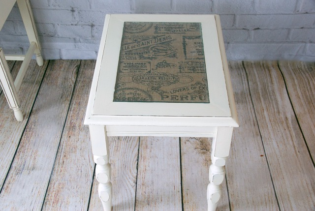 this is an easy way to attach patterned burlap to furniture so pretty burlap furniture