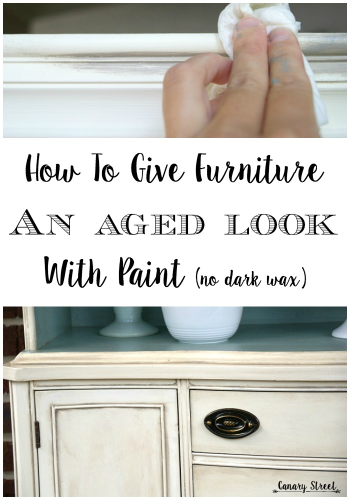 An easy technique for giving furniture an aged look without using dark wax. http://canarystreetcrafts.com/