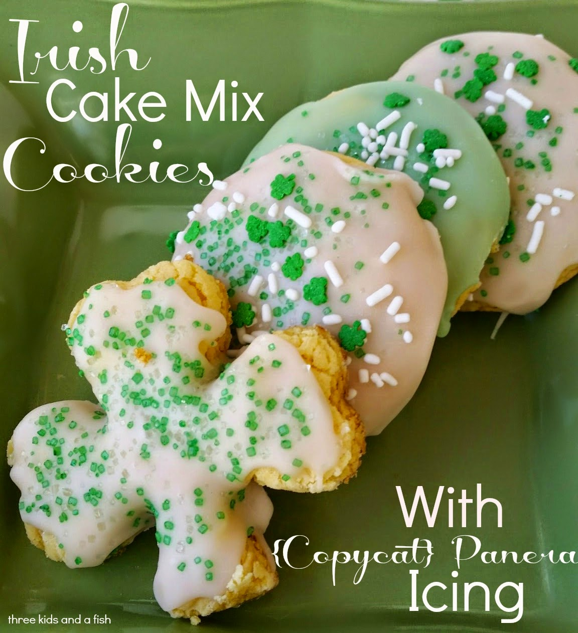 Irish cake mix cookies with copycat Panera icing from Three Kids And A Fish