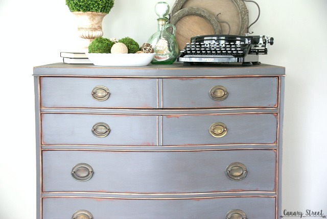 Gorgeous weathered gray dresser. Lots of furniture makeovers and painting tips on this site! http://canarystreetcrafts.com/