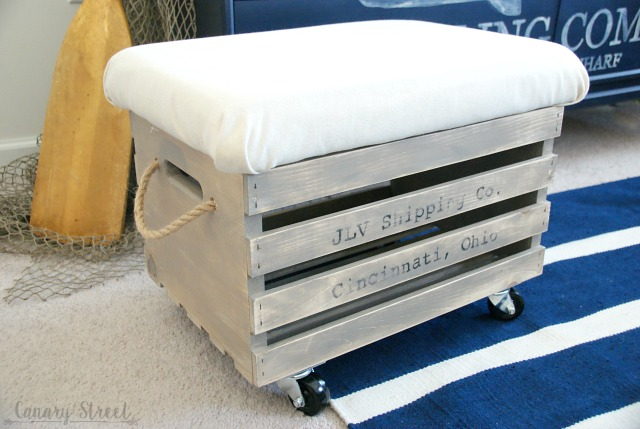 Awe Inspiring Wood Crate Storage Ottoman Canary Street Crafts Machost Co Dining Chair Design Ideas Machostcouk